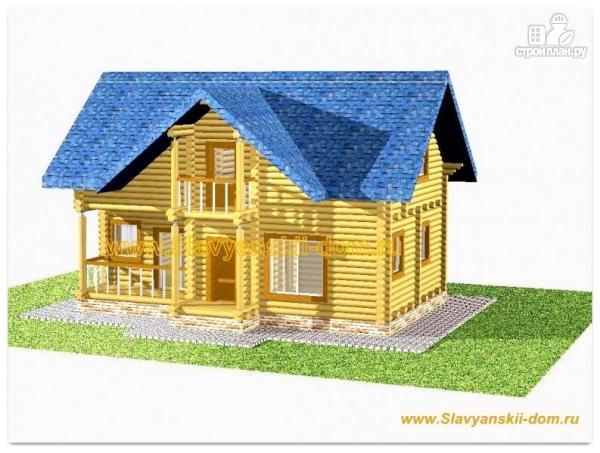 Фото: проект дом из оцилиндрованного бревна с террасой