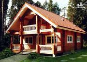 Фото: деревянный дом 8х8 из оцилиндрованного бревна