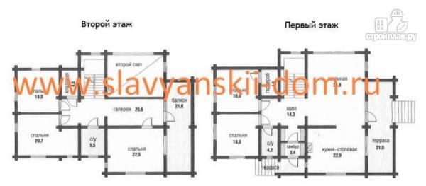 Фото 2: проект дом 10х13 из оцилиндрованного бревна