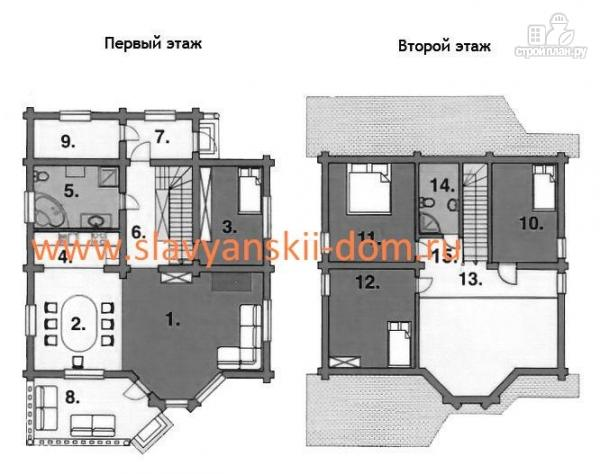 Фото 2: проект деревянный дом 8х8 из оцилиндрованного бревна