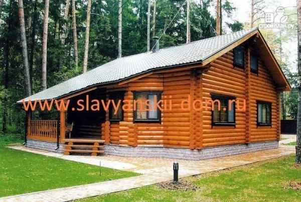 Фото: проект деревянный дом 8х8 из оцилиндрованного бревна