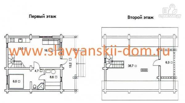 Фото 2: проект деревянный дом из оцилиндрованного бревна с террасой и балконом