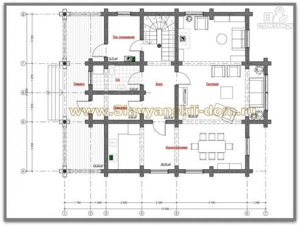 Фото 2: проект бревенчатый дом с двухсветной гостиной и балконом