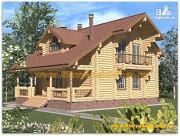 Фото: бревенчатый дом с двухсветной гостиной и балконом