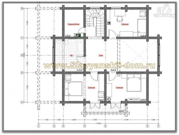 Фото 3: проект бревенчатый дом с двухсветной гостиной и балконом