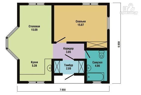 Фото 2: проект одноэтажный каркасный дом с эркером