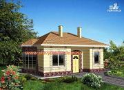 Фото: одноэтажный каркасный дом с эркером