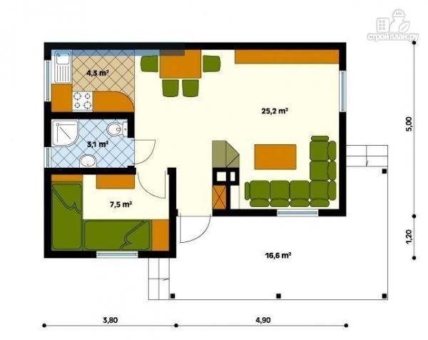 Фото 2: проект каркасный дом в один этаж по канадской технологии, с террасой
