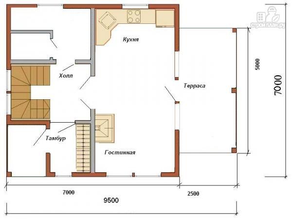 Фото 2: проект жилой каркасный дом 7х7 по канадской технологии, с террасой