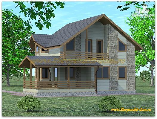 Фото: проект жилой каркасный дом по канадской технологии с террасой и балконом