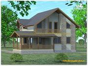 Проект жилой каркасный дом по канадской технологии с террасой и балконом