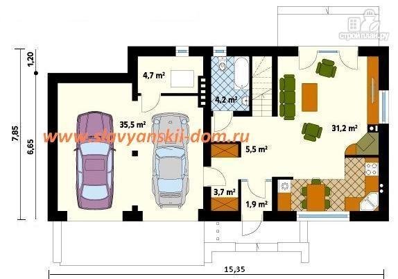 Фото 2: проект каркасный дом по канадской технологии, с гаражом на две машины и террасой на втором этаже