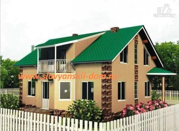 Фото: проект жилой каркасный дом 8х10 по канадской технологии, с эркером и балконом
