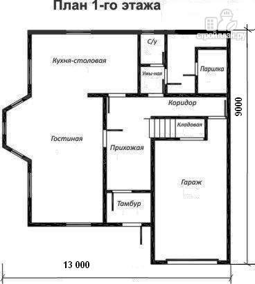 Фото 2: проект жилой каркасный дом 9х13 по канадской технологии, с эркером и гаражом