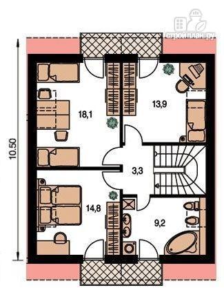 Фото 3: проект жилой каркасный дом по канадской технологии, с гаражом и балконом