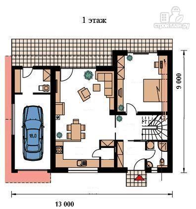 Фото 2: проект жилой каркасный дом 9х13 по канадской технологии, с гаражом