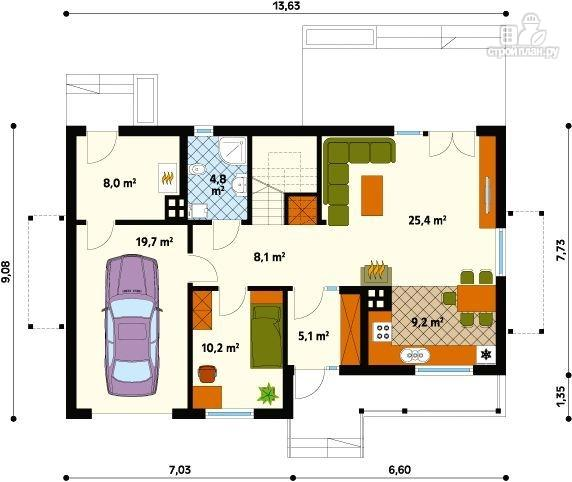 Фото 2: проект жилой каркасный дом по канадской технологии, с гаражом и балконом