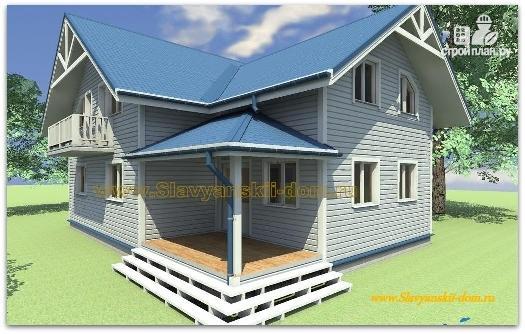 Фото: проект жилой каркасный дом по канадской технологии с крыльцом-террасой