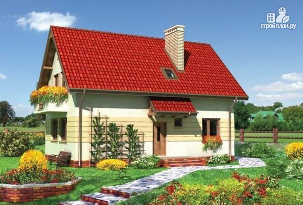 Фото: проект жилой каркасный дом по канадской технологии с балконом  и крыльцом
