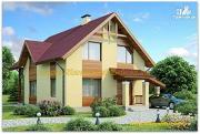 Проект жилой каркасный дом по канадской технологии с  двумя террасами