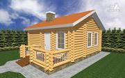 Проект деревянная баня 7х8 из бруса, с крыльцом
