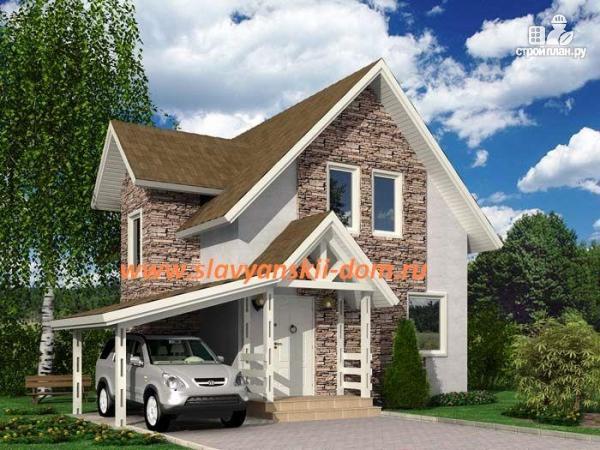 Фото: проект дом 8х8 из сэндвич-панелей, с навесом