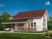 Фото: жилой дом из сэндвич-панелей, с навесом для машины и террасой