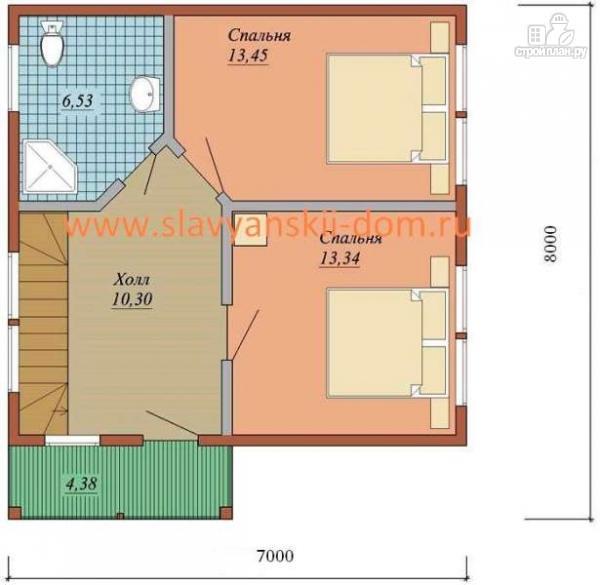 Фото 3: проект жилой дом 7х8 из сэндвич-панелей, с террасой и балконом