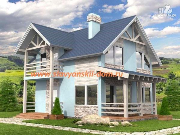 Фото: проект жилой дом 7х8 из сэндвич-панелей, с террасой и балконом
