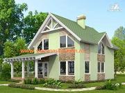 Проект жилой дом из сэндвич-панелей, с мансардой и террасой