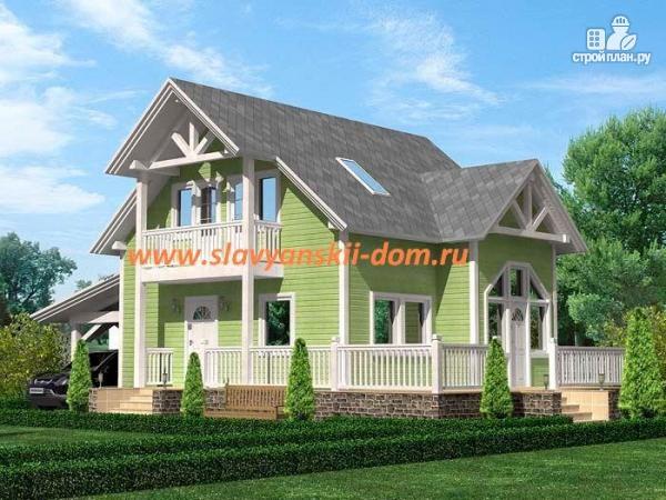 Фото: проект жилой дом из сэндвич-панелей, с навесом для машины и угловой террасой