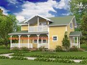 Проект жилой дом из сэндвич-панелей, с террасой и балконом