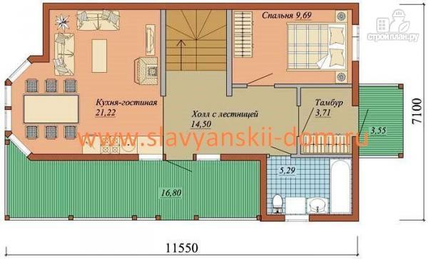 Фото 2: проект жилой дом из сэндвич-панелей, с террасой и балконом