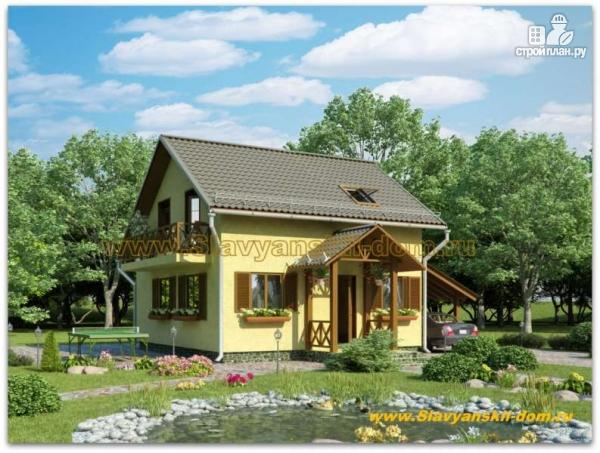 Фото: проект жилой дом из сэндвич-панелей, с балконом и крыльцом