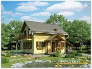 Проект жилой дом из сэндвич-панелей, с балконом и крыльцом