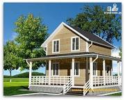 Фото: жилой дом из сэндвич-панелей с угловой террасой