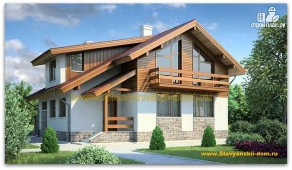 Фото: проект жилой дом из сэндвич-панелей, с балконом и верандой