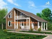Фото: жилой дом из сэндвич-панелей, с балконом, террасой и навесом