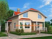 Фото: жилой дом из сэндвич-панелей, с двумя эркерами и входами, терраса