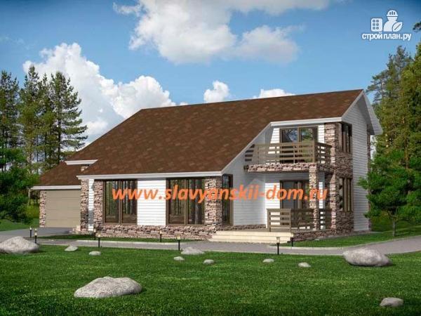 Фото: проект жилой дом из сэндвич-панелей, с гаражом, балконом и террасой
