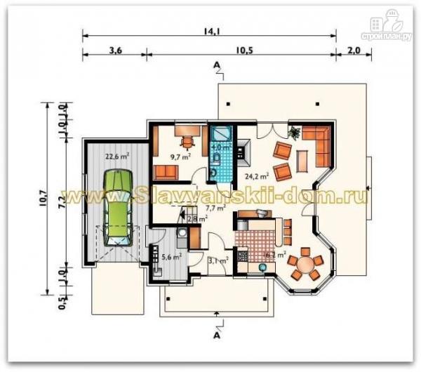Фото 2: проект жилой дом из сэндвич-панелей, с балконом и гаражом