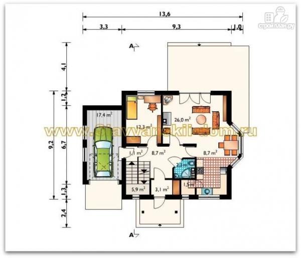 Фото 2: проект жилой дом из сэндвич-панелей, с эркером, балконом и гаражом