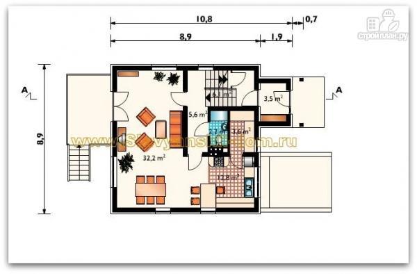 Фото 2: проект жилой дом из сэндвич-панелей, с балконом и тамбуром