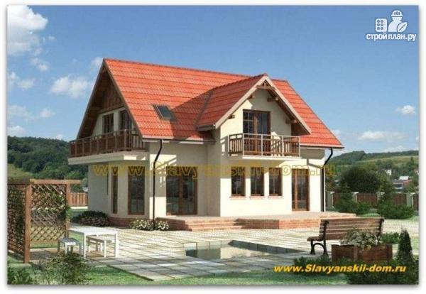 Фото: проект жилой дом из сэндвич-панелей, с двумя балконами и эркером