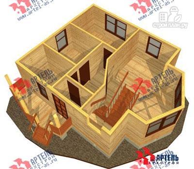 Фото 7: проект дом 7х9 из бруса с двухсветной гостиной