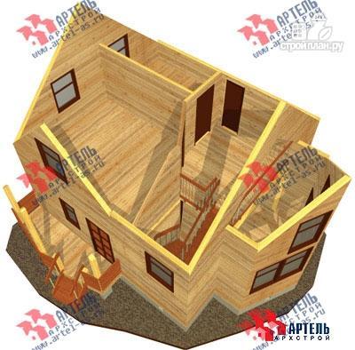 Фото 9: проект дом 7х9 из бруса с двухсветной гостиной