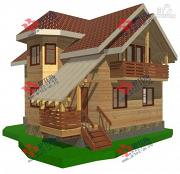 Проект дом из бруса с пятью спальнями