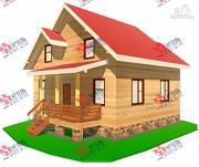 Фото: дом из бруса с высоким крыльцом
