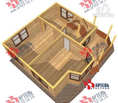 Фото 6: проект дом 8х8 из бруса с крыльцом