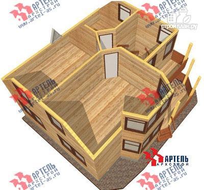Фото 7: проект дом 8х8 из бруса с крыльцом